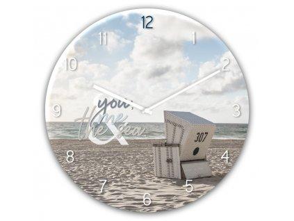 Skleněné nástěnné hodiny THE SEA Ø 30 cm Styler