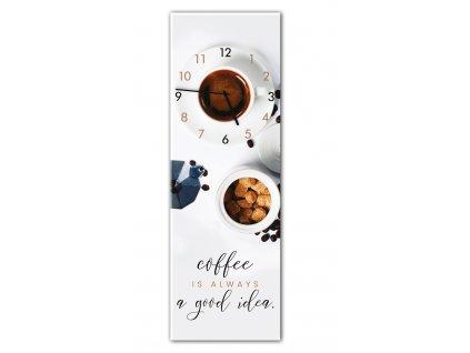 Skleněné nástěnné hodiny GOOD COFFEE 20x60 cm Styler