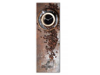 Skleněné nástěnné hodiny FIRST COFFEE 20x60 cm Styler