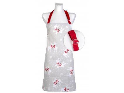 Kuchyňská bavlněná zástěra STAY WARM šedá motiv A, Essex, 100% bavlna