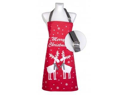 Kuchyňská bavlněná zástěra STAY WARM červená motiv B, Essex, 100% bavlna