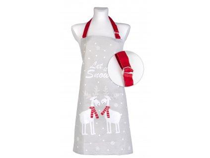 Kuchyňská bavlněná zástěra STAY WARM šedá motiv C, Essex, 100% bavlna