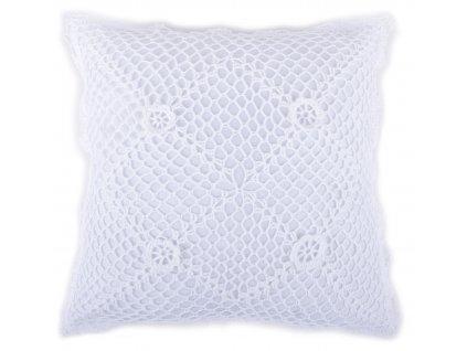 Polštář LACE s bavlněnou háčkovanou krajkou, bílá, 40x40 cm Essex