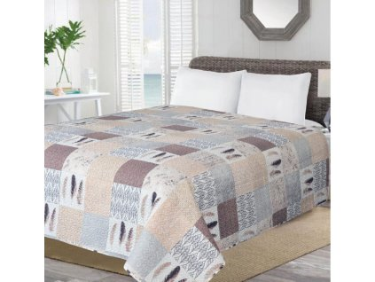 Přehoz na postel PATCHWORK NEW béžová 170x210 cm Essex