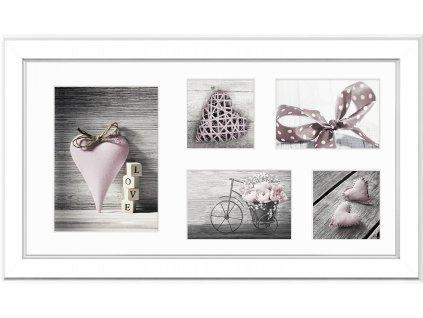 Multi fotorámeček na 5 fotografií bílá MALMO 27x51 cm Styler