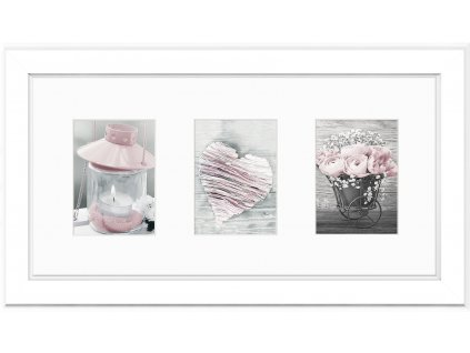 Multi fotorámeček na 3 fotografie bílá MALMO 23x46 cm Styler