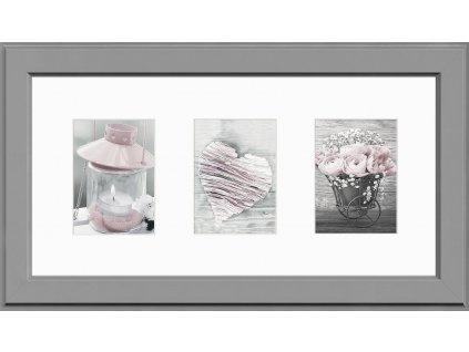 Multi fotorámeček na 3 fotografie šedá MALMO 23x46 cm Styler