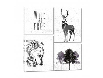 Obraz na na plátně WILD FREE ME vícedílný 64x74 cm Styler