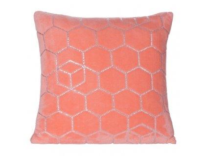 Polštář GEO mikrovlákno korálová Mybesthome 40x40cm, geometrický vzor