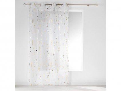 Dekorační záclona GOLDIE se vzorem s kroužky bílá/zlatá 140x240 cm MyBestHome