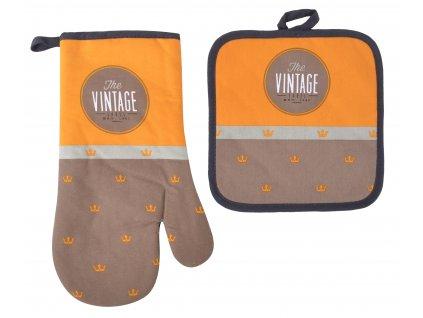 Kuchyňský SET rukavice/chňapka VINTAGE hnědá, 18x30 cm/20X20 cm ESSEX, 100% bavlna