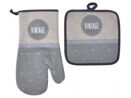 Kuchyňský SET rukavice/chňapka VINTAGE šedá, 18x30 cm/20X20 cm ESSEX, 100% bavlna