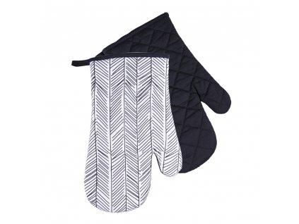Kuchyňské bavlněné rukavice chňapky BLACK WHITE motiv C, 100% bavlna 18x30 cm Essex