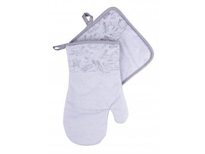 Kuchyňský set rukavice/chňapka VERDURE šedá 19x30 cm/20X20 cm ESSEX, 100% bavlna