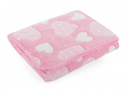Dětská deka se srdíčky DORA růžová 80x90 cm Mybesthome