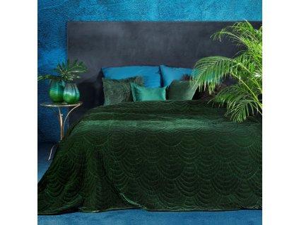Přehoz na postel GARYS 220x240 cm tmavě zelená Mybesthome