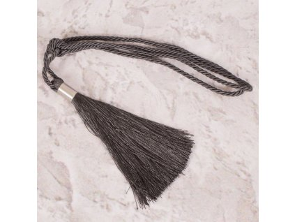 Dekorační ozdobný úvaz - šňůra na závěsy ZORA 21 cm, antracitová, Mybesthome