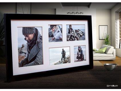 Multi fotorámeček na 5 fotografií černá NARVIK 27x51 cm Styler