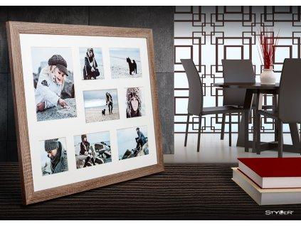 Multi fotorámeček na 8 fotografií světle hnědá NARVIK 51x41 cm Styler
