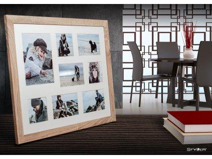 Multi fotorámeček na 8 fotografií béžová NARVIK 51x41 cm Styler