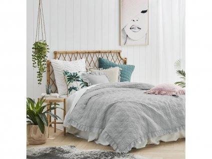 Přehoz na postel ROMANCE 220x240 cm šedá Mybesthome