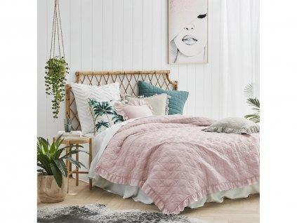 Přehoz na postel ROMANCE 220x240 cm růžová Mybesthome