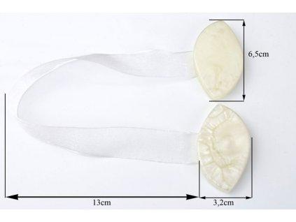 Dekorační ozdobná spona na závěsy s magnetem CANTU bílá, 6,5x3,2 cm Mybesthome