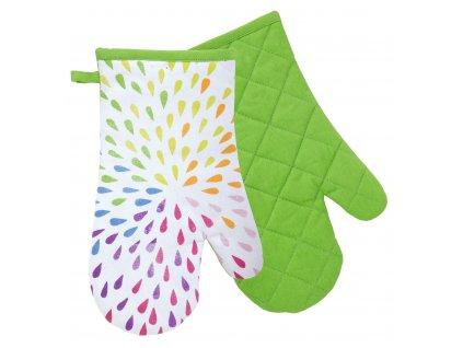 Kuchyňské bavlněné rukavice - chňapky JOYFUL zelená, 100% bavlna 19x30 cm Essex
