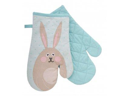 Kuchyňské bavlněné rukavice - chňapky LOVELY RABBIT, motiv A, 100% bavlna 19x30 cm Essex