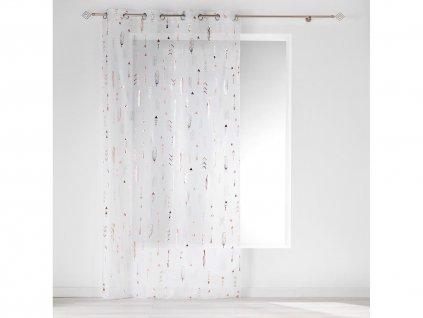Dekorační záclona GOLDIE se vzorem s kroužky bílá/zlatá/růžová 140x240 cm MyBestHome