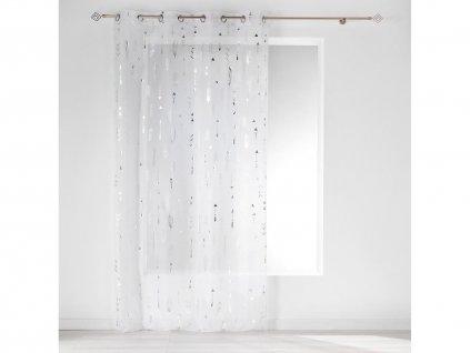 Dekorační záclona GOLDIE se vzorem s kroužky bílá/stříbrná 140x240 cm MyBestHome