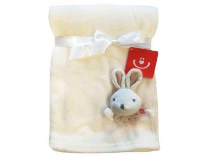 Dětská deka s 3D aplikací ZAJÍČEK krémová 76x102 cm Bobobaby