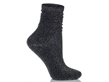GLAMOUR SOCKS dámské ponožky s lurexem, černá KNITTEX