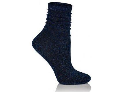 GLAMOUR SOCKS dámské ponožky s lurexem, modrá KNITTEX