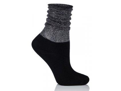GLAMOUR SOCKS dámské ponožky s lurexem, stříbrná/černá KNITTEX