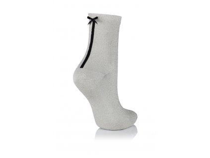 GLAMOUR SOCKS dámské ponožky s mašličkou s lurexem, stříbrná KNITTEX