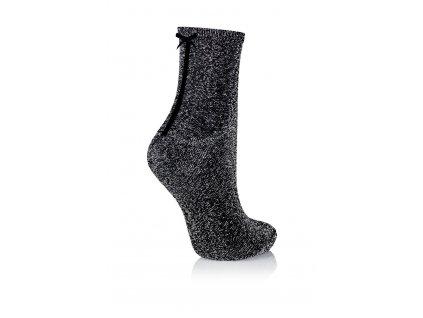 GLAMOUR SOCKS dámské ponožky s mašličkou s lurexem, grafitová KNITTEX
