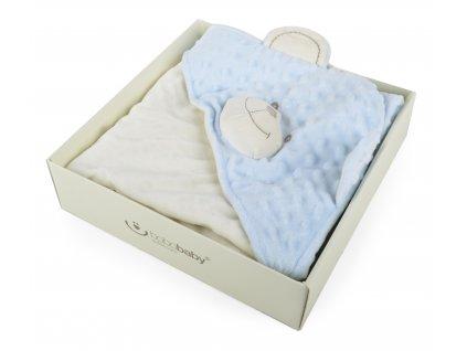 """Dětská """"MINKY"""" mikrovláknová deka s kapucí BEER, modrá, 75x75 cm Bobobaby"""