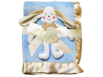 Dětská deka s 3D aplikací ZAJÍČEK modrá 76x102 cm Bobobaby