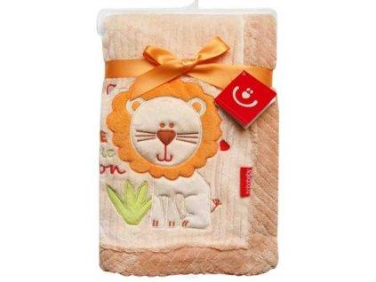 Dětská deka s aplikací LVÍČEK béžová 76x102 cm Bobobaby