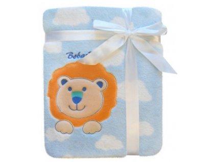 Dětská deka s aplikací LVÍČEK modrá 76x102 cm Bobobaby