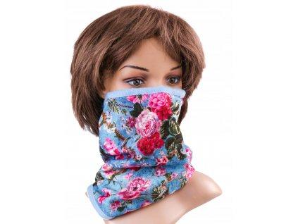 Multifunkční stylový šál - komín 04 - 31x26 cm, FLOWERS, Mybesthome