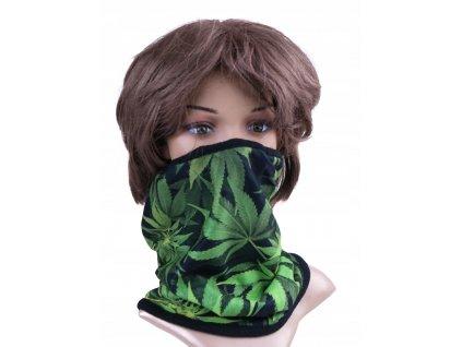 Multifunkční stylový šál - komín 09 - 31x26 cm, RASTA zelená, Mybesthome