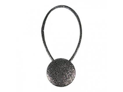 Dekorační ozdobná spona na závěsy s magnetem SANDER, čerrná/stříbrná, Ø 6 cm Mybesthome