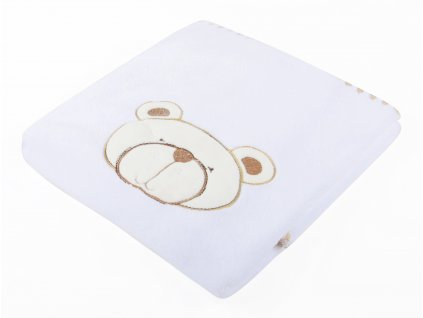Dětská mikrovláknová deka s aplikací MEDVÍDEK bílá 80x90 cm Mybesthome