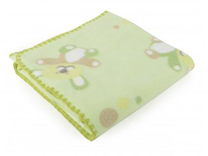 Dětská flísová deka MEDVÍDEK zelená 80x90 cm Mybesthome