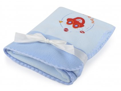 Dětská flísová deka AMÁLKA s autíčkem modrá 100x80 cm Mybesthome