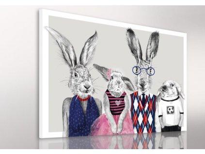 Obraz na plátně HIPSTER RABBIT FAMILY různé rozměry Ludesign