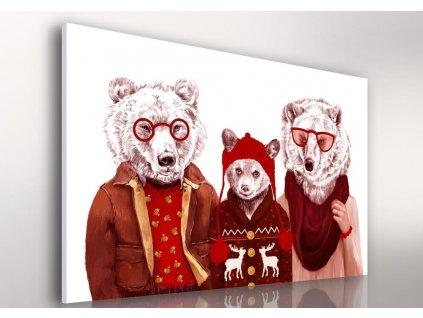 Obraz na plátně HIPSTER BEER FAMILY různé rozměry Ludesign