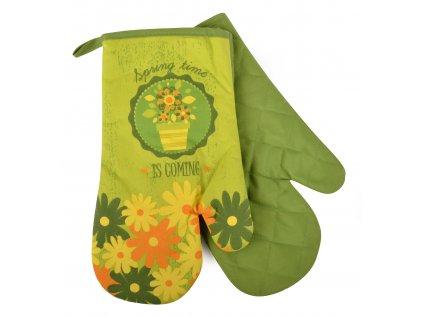 Kuchyňské rukavice chňapky SPRING TIME 18x30 cm zelená Essex